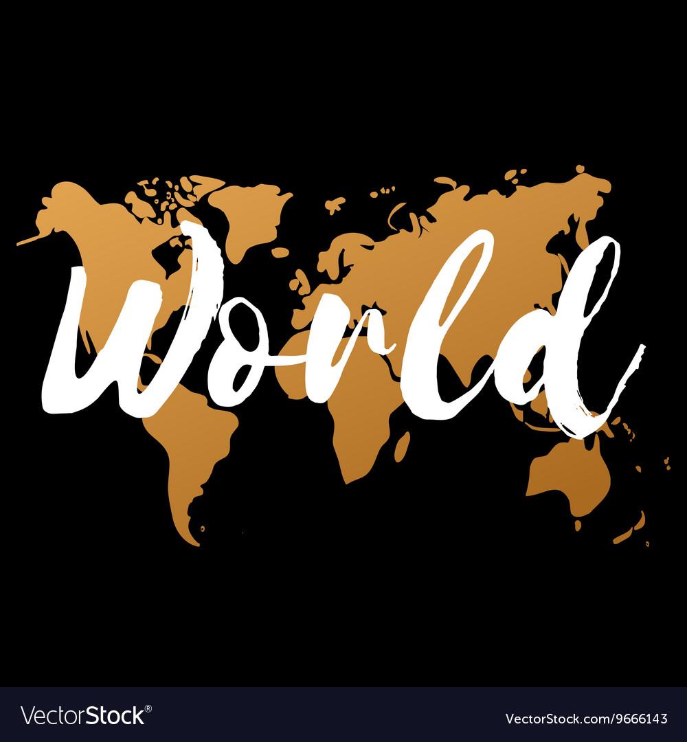 Gold world map on black background doodle vector image gumiabroncs Images