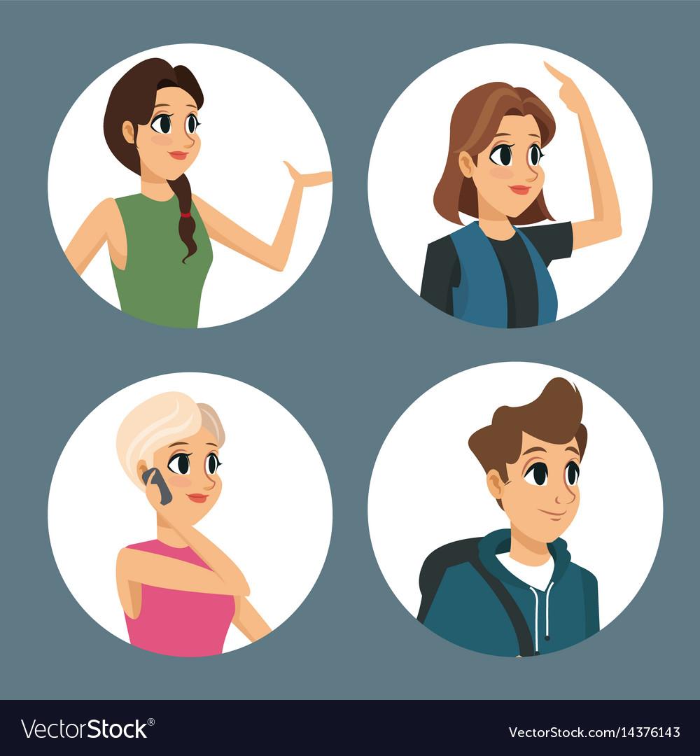 Group people communication dialog round icons