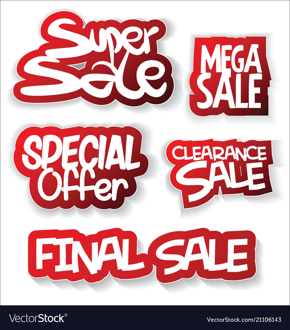 Modern sale sticker and tag red collection