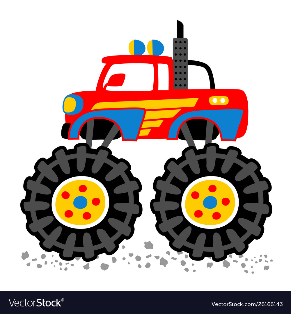 Monster Truck Cartoon With Big Wheels Royalty Free Vector