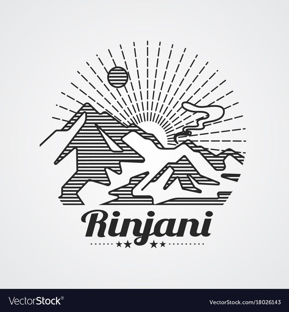 Rinjani mountain vector image