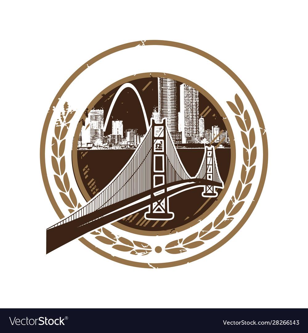 Silhouette city for retro vintage badge emblem