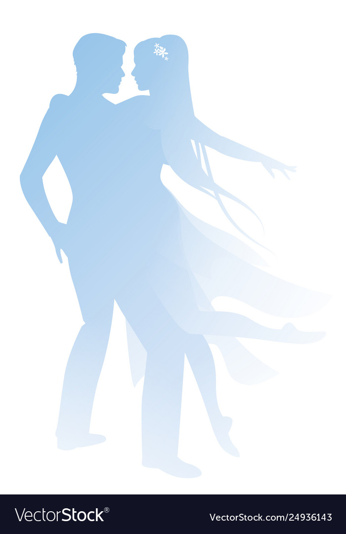 Silhouettes couple dancers holding each