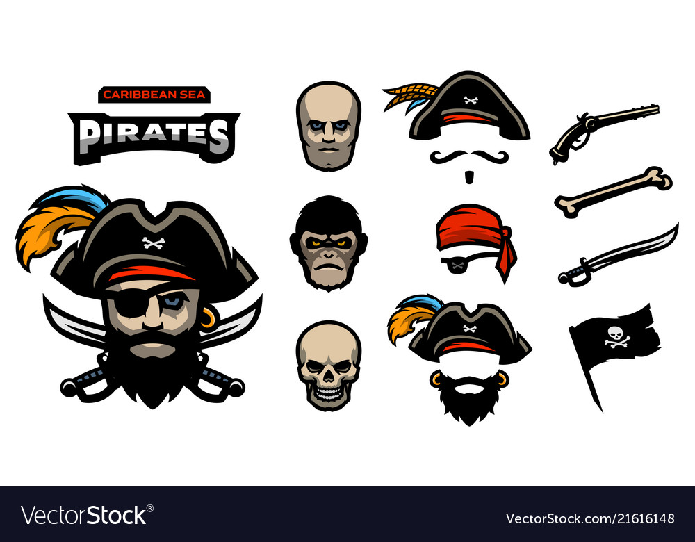 A set elements for creating pirated logos hats