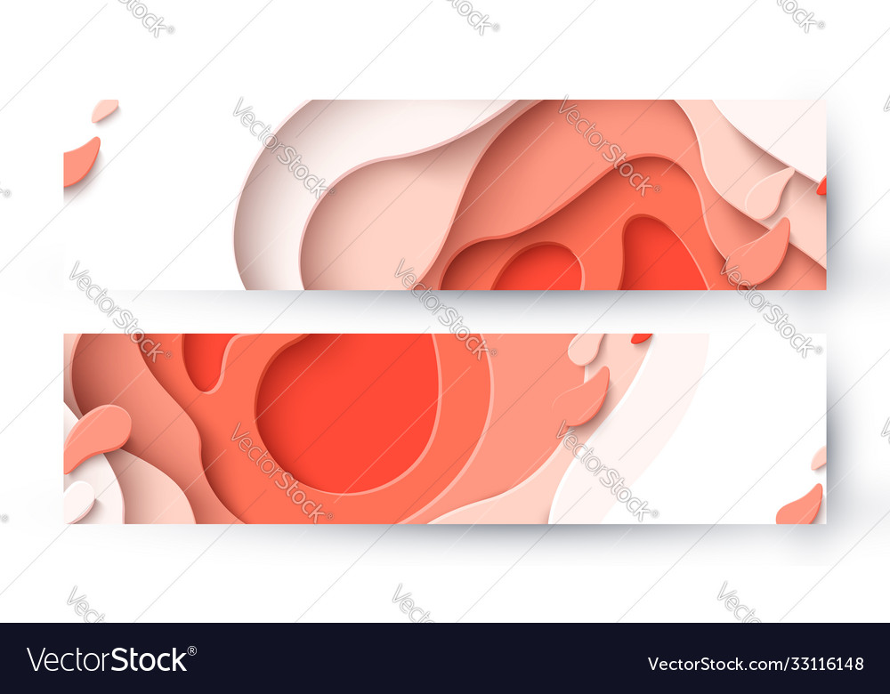 Abstract coral color paper cut background