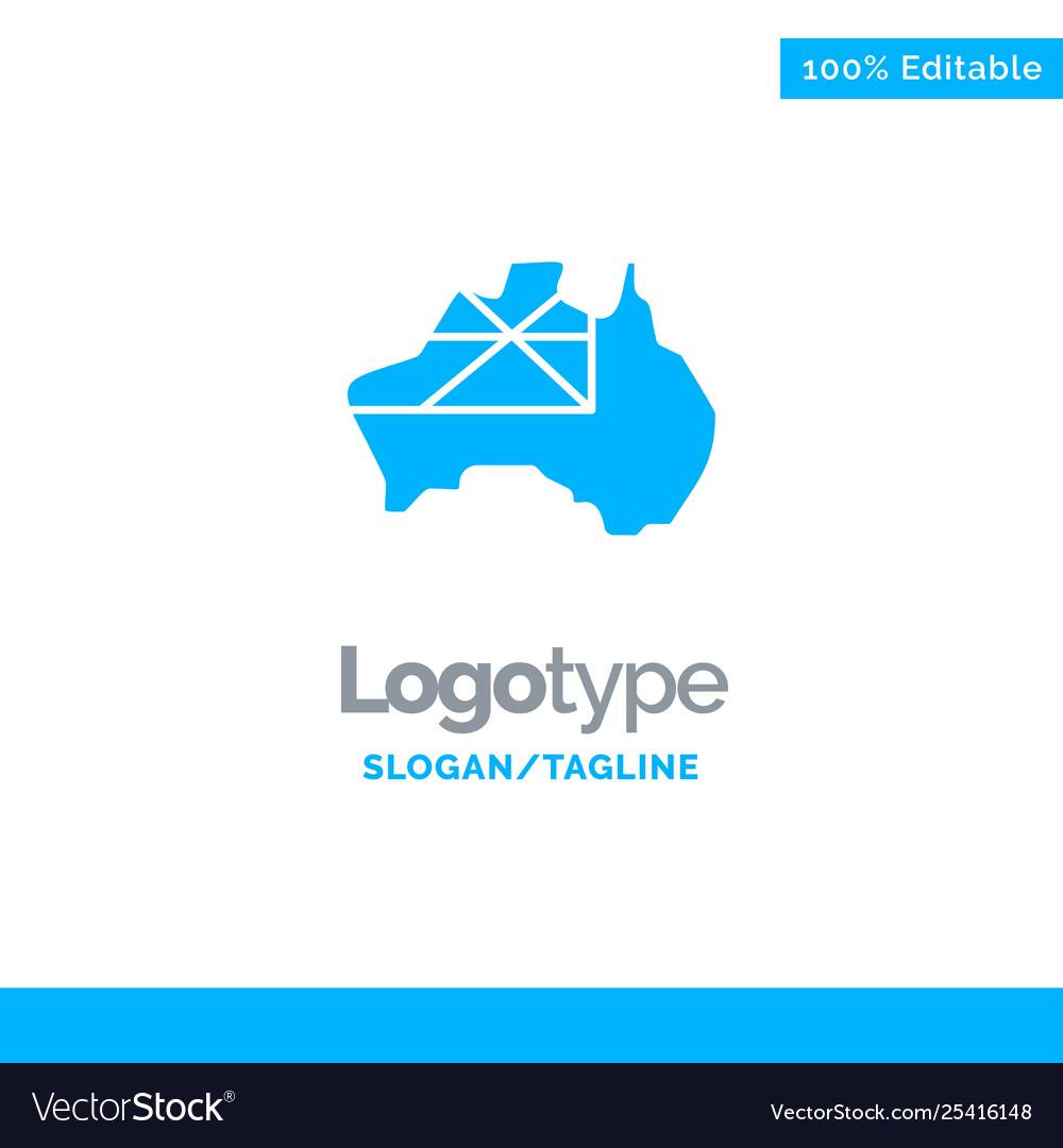 Map Of Australia Logo.Australia Map Country Flag Blue Solid Logo