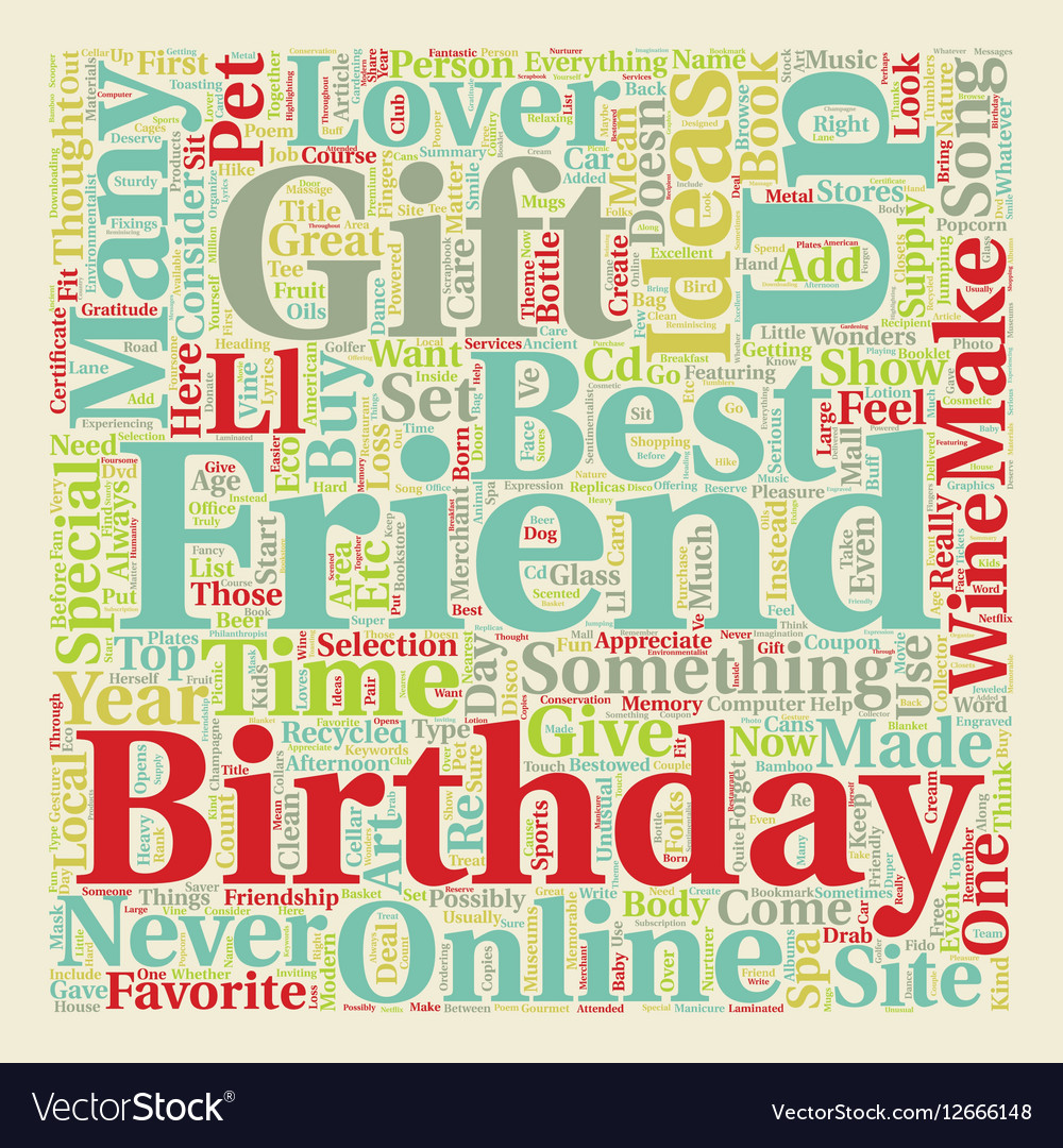 Best Friend Birthday Gift Ideas Text Background Vector Image