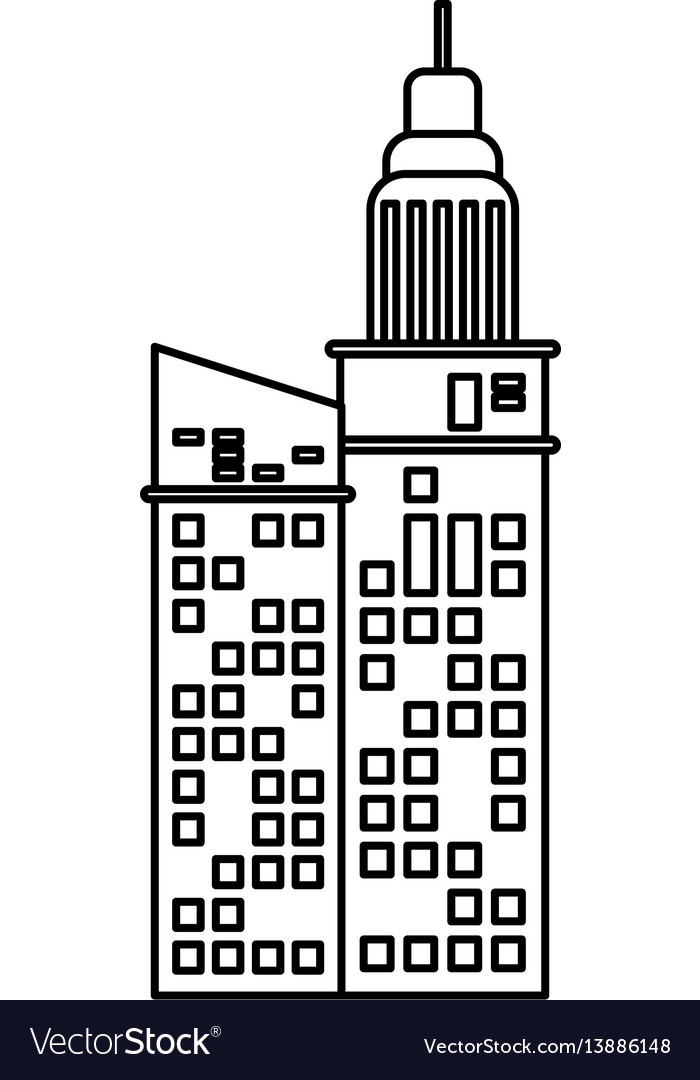 Building facade apartments outline