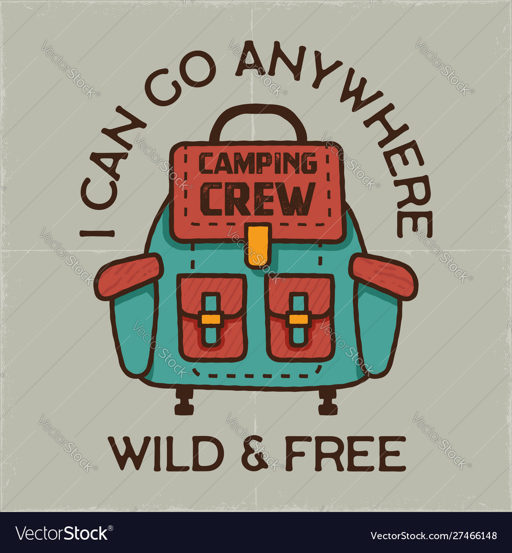 Camping graphic for t-shirt prints vintage hand