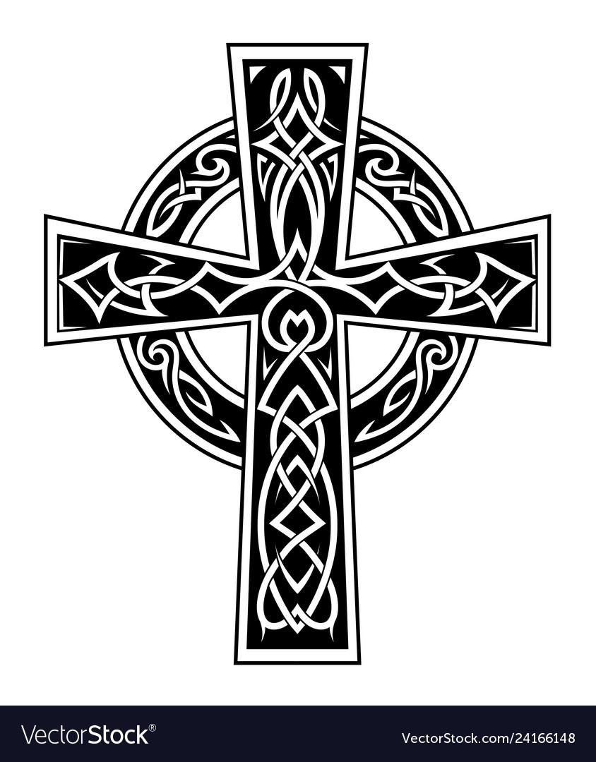 Celtic Style Cross Tattoo Royalty Free Vector Image