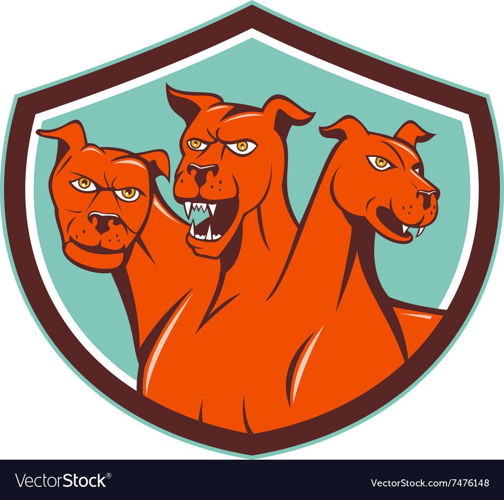 Cerberus Hellhound Multi-headed Dog Crest Cartoon vector image