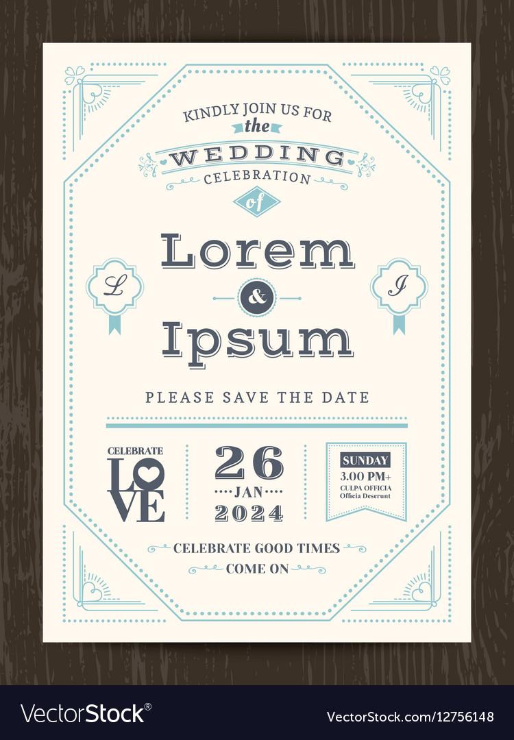 Classic vintage wedding invitation card Royalty Free Vector