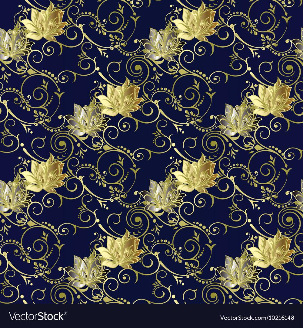 Dark Blue Vintage Floral Seamless Pattern Vector Image