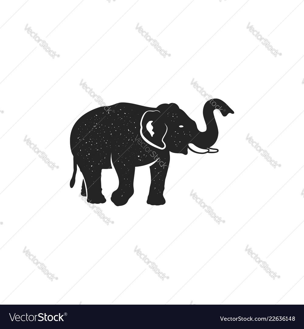 Elephant icon vintage hand drawn wild animal