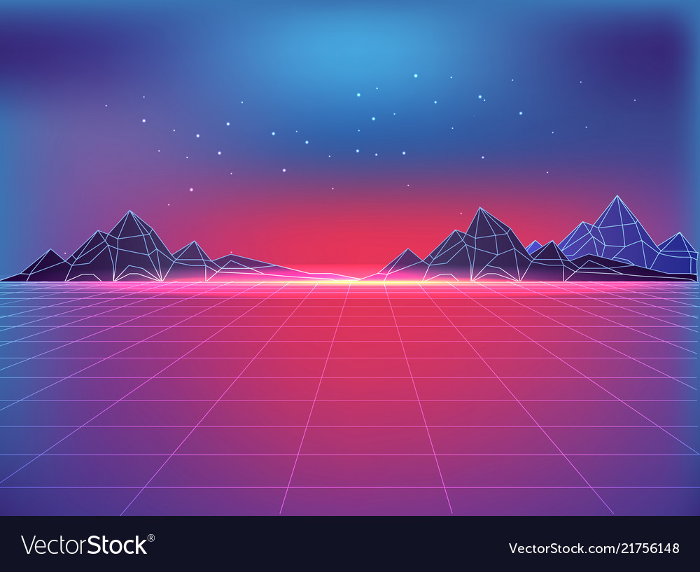 Futuristic backdrop in 80s style with cosmic motif