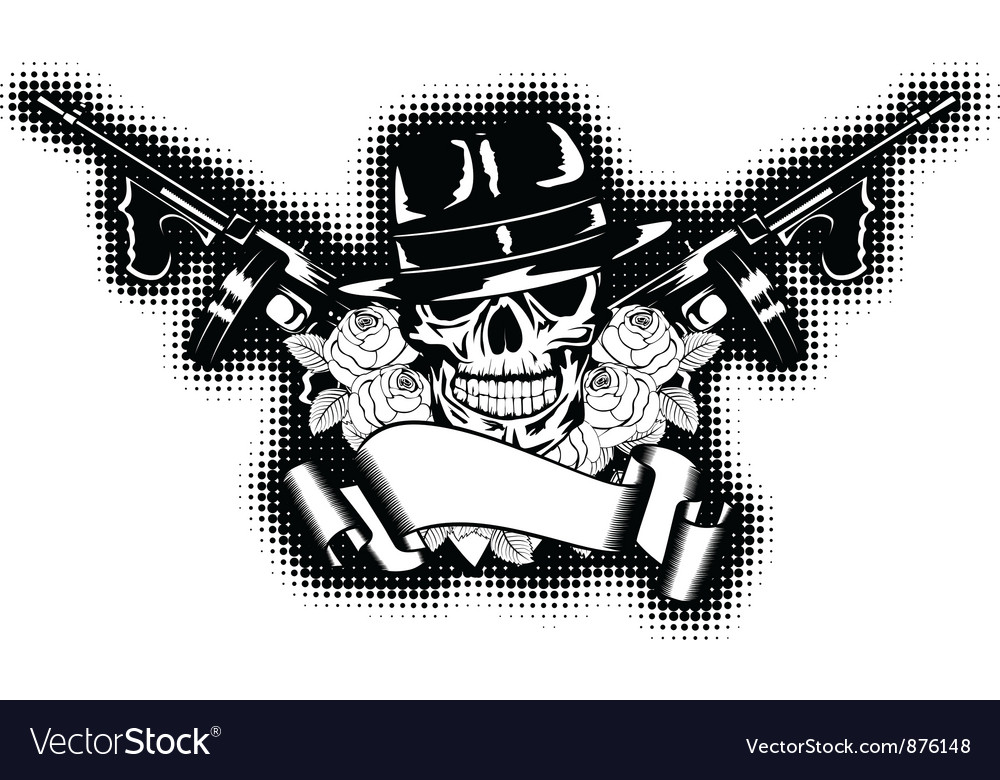 Gangster and rose vector image
