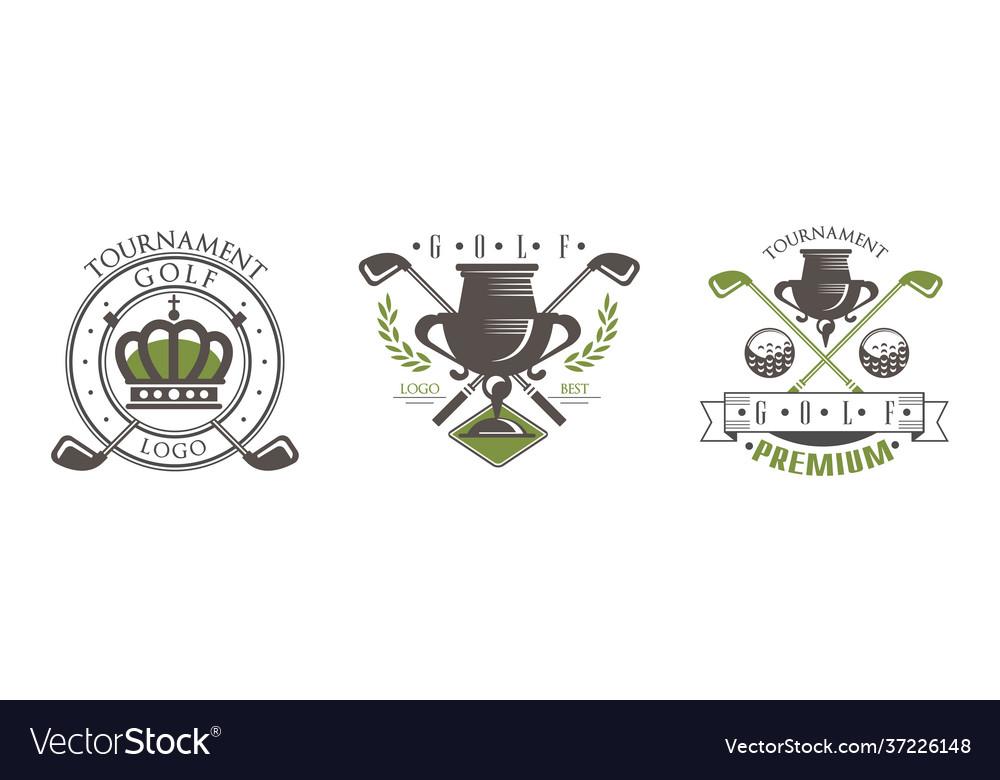 Golf tournament premium logo design set club