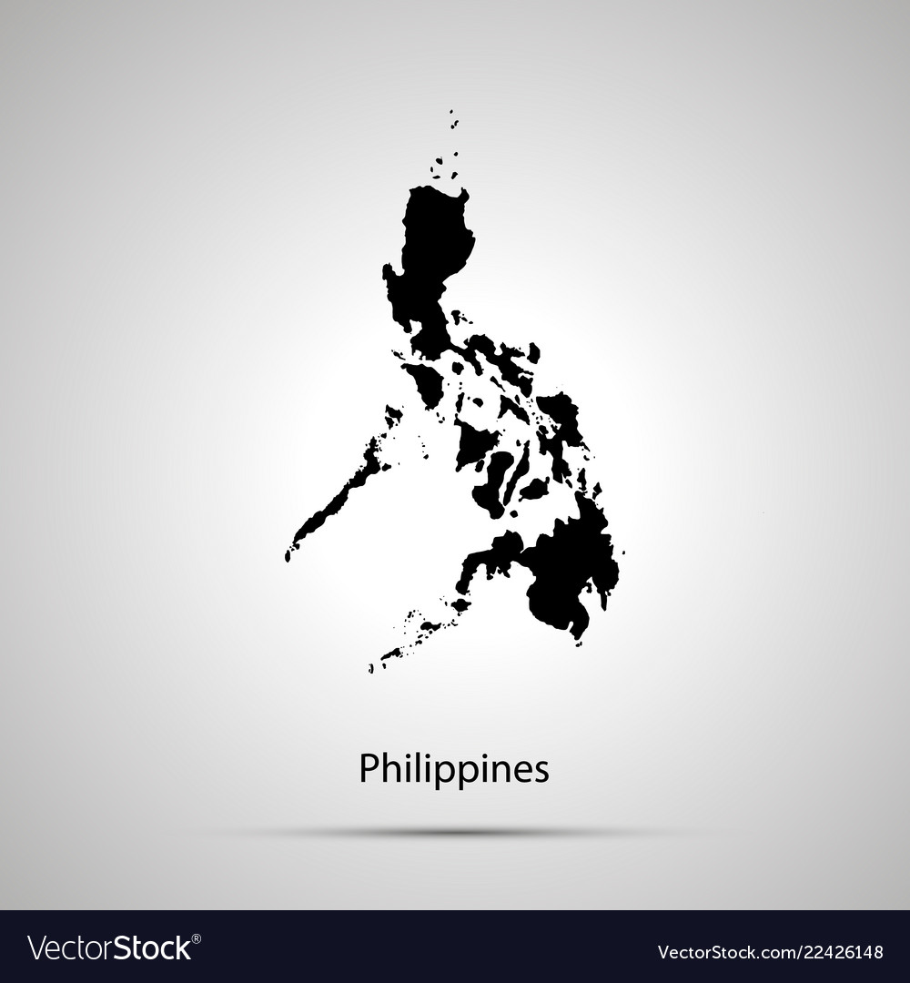 Philippines country map simple black silhouette