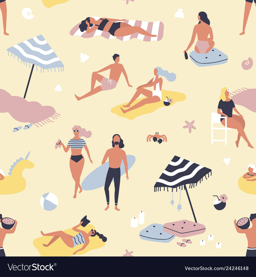 Seamless pattern with people relaxing on sand