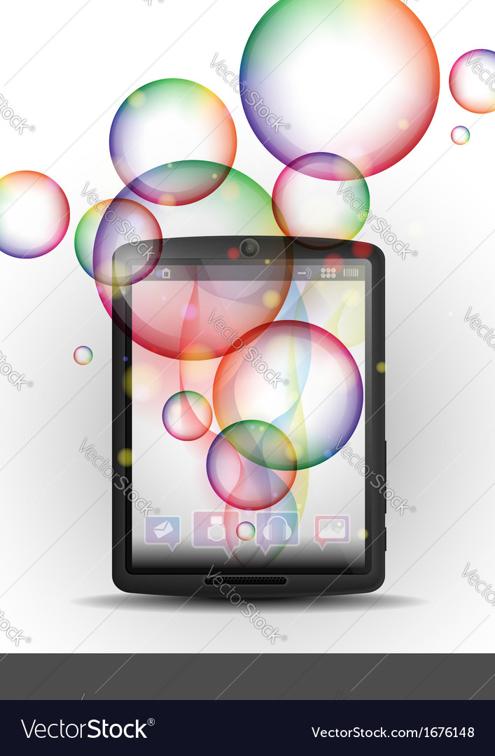 Tablet Pc With Bubble Background