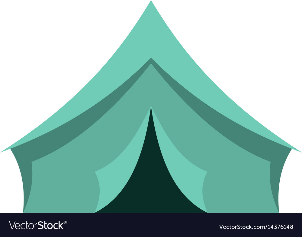 Turquoise tent icon isolated