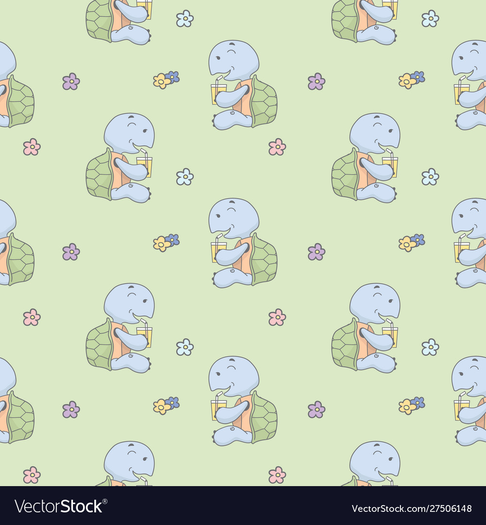 Turtle drink and flower seamless pattern