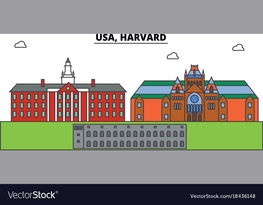 Usa harvard outline skyline american flat thin vector image