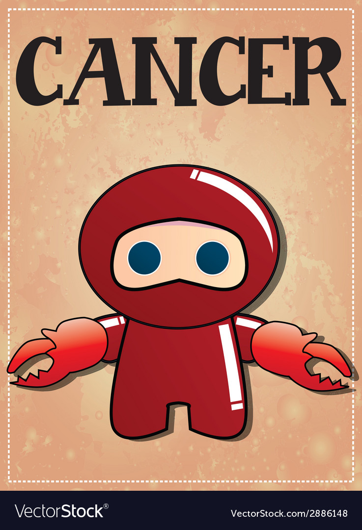 Zodiac sign Cancer with cute black ninja character vector image