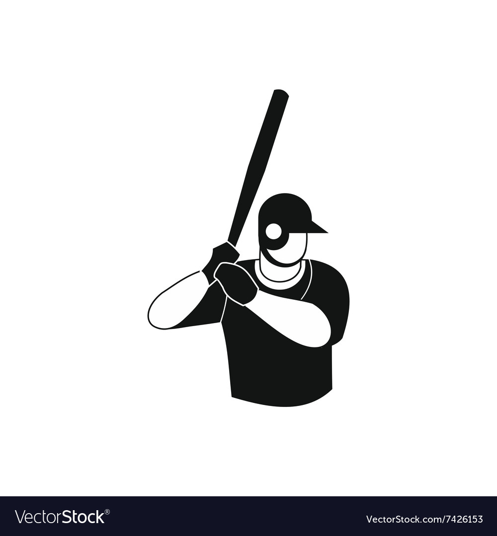 Baseball player black simple icon