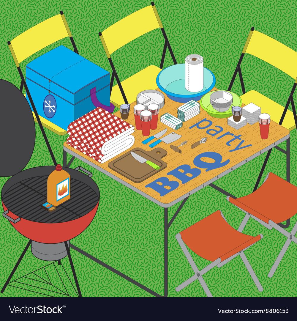 BBQ on grass ilustration vector image
