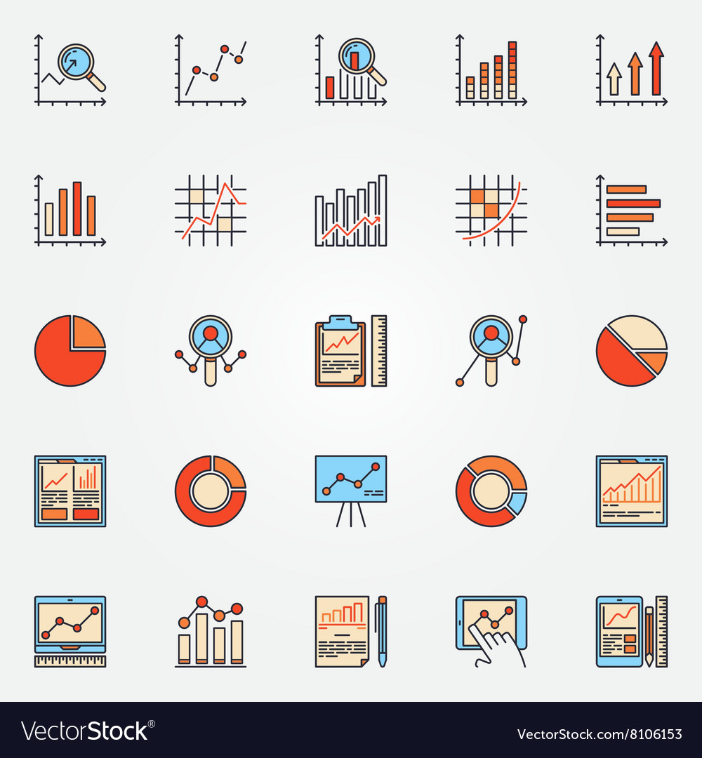 Business diagrams and charts icons vector image