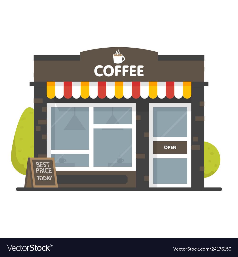 Coffee shop building facade signboard with big