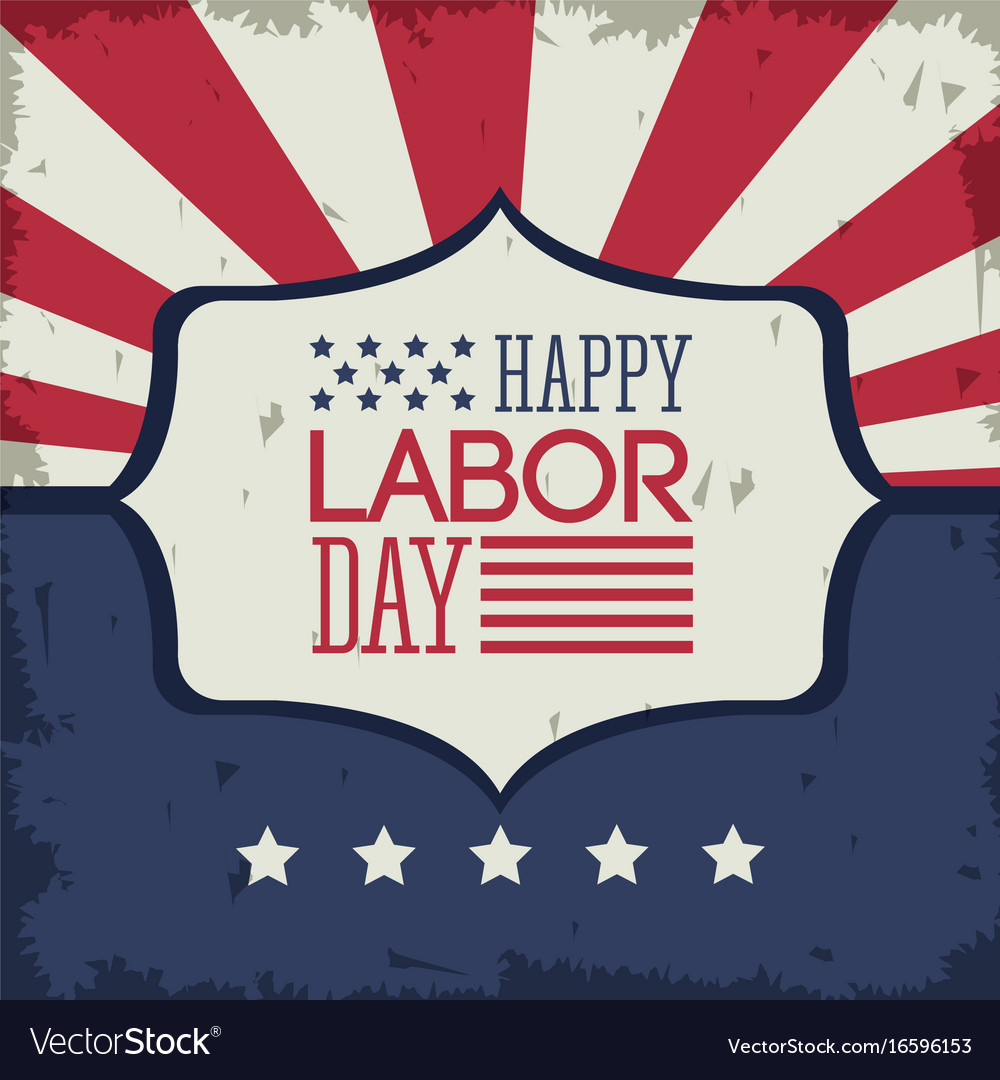 Colorful poster of happy labor day with emblem