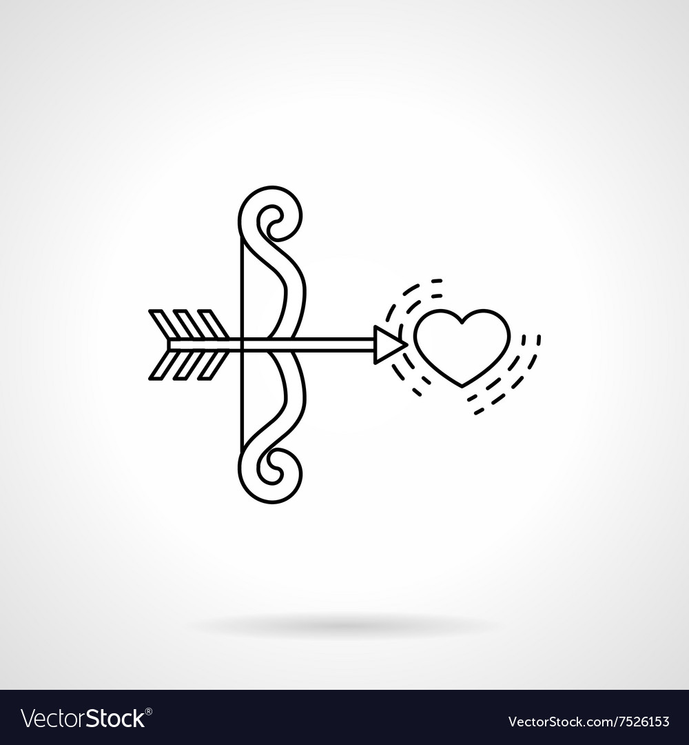 Cupids bow and heart black flat line icon