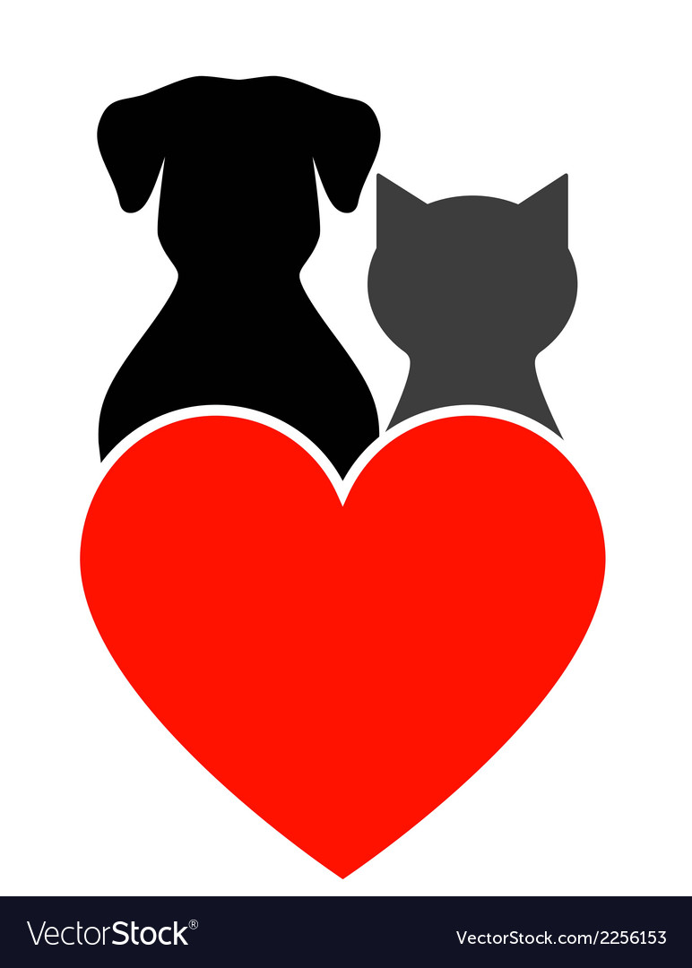 Dog Cat And Heart Royalty Free Vector Image Vectorstock