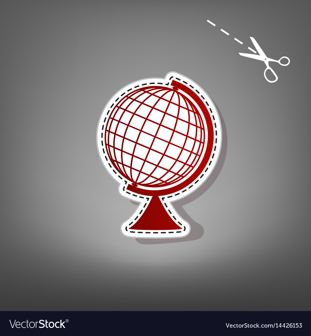 Earth globe sign red icon with for