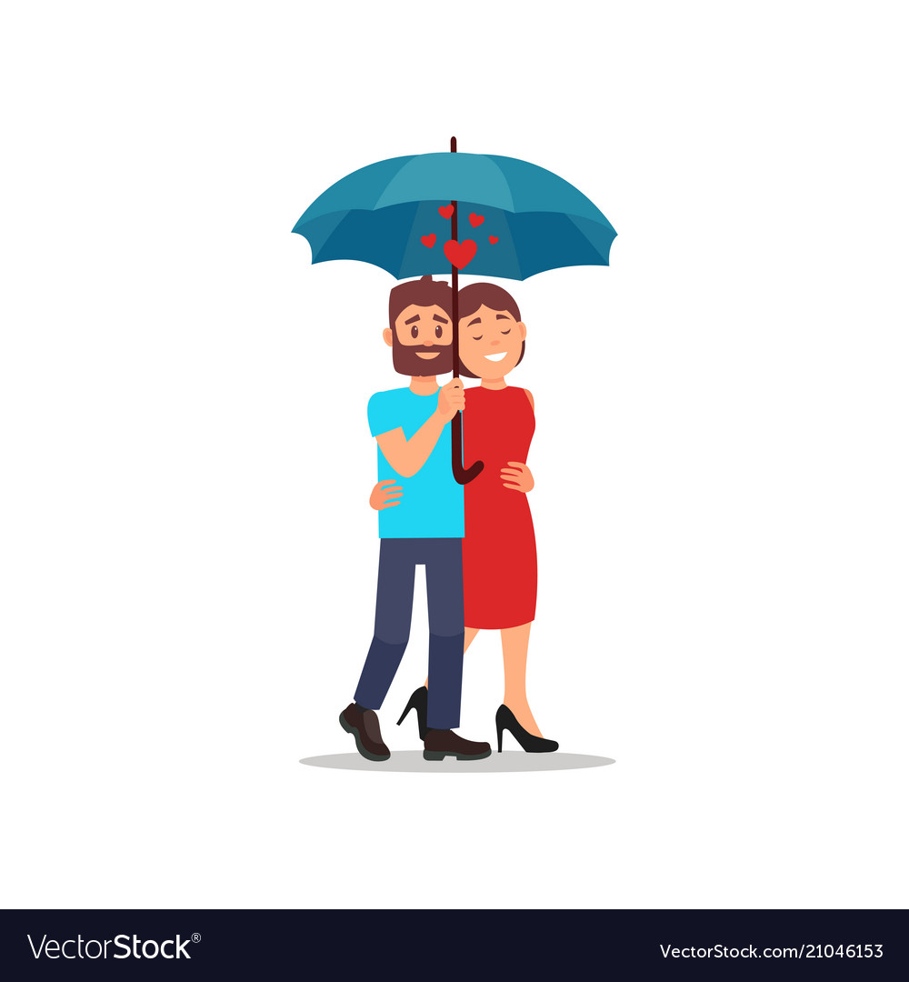Flat icon of lovely couple walking in