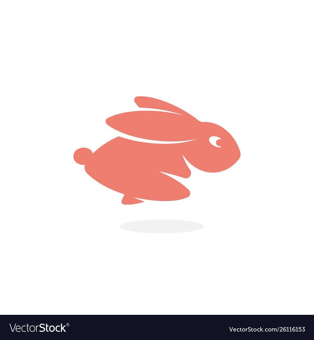 Pink rabbit fast running forward hare jumping