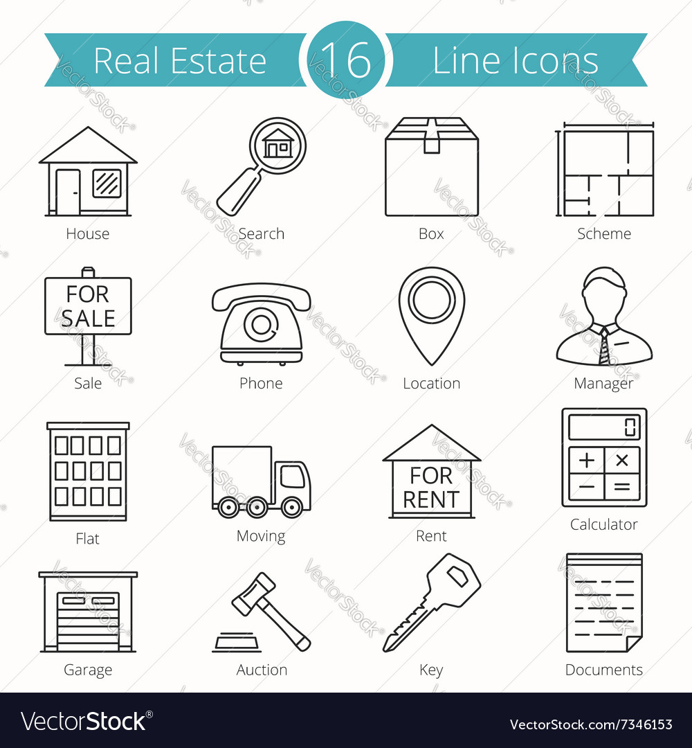 Real Estate Line Icons
