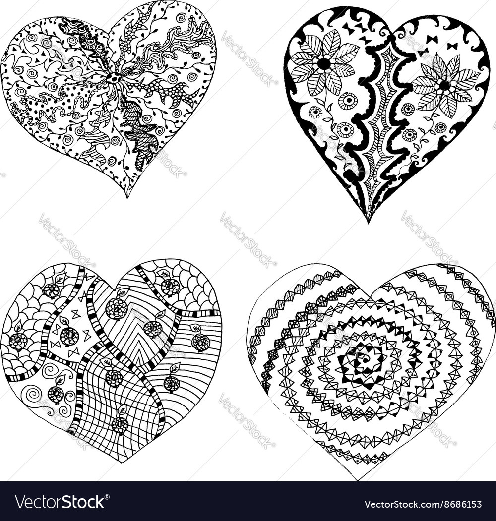 Set of hand drawn hearts in tribal style