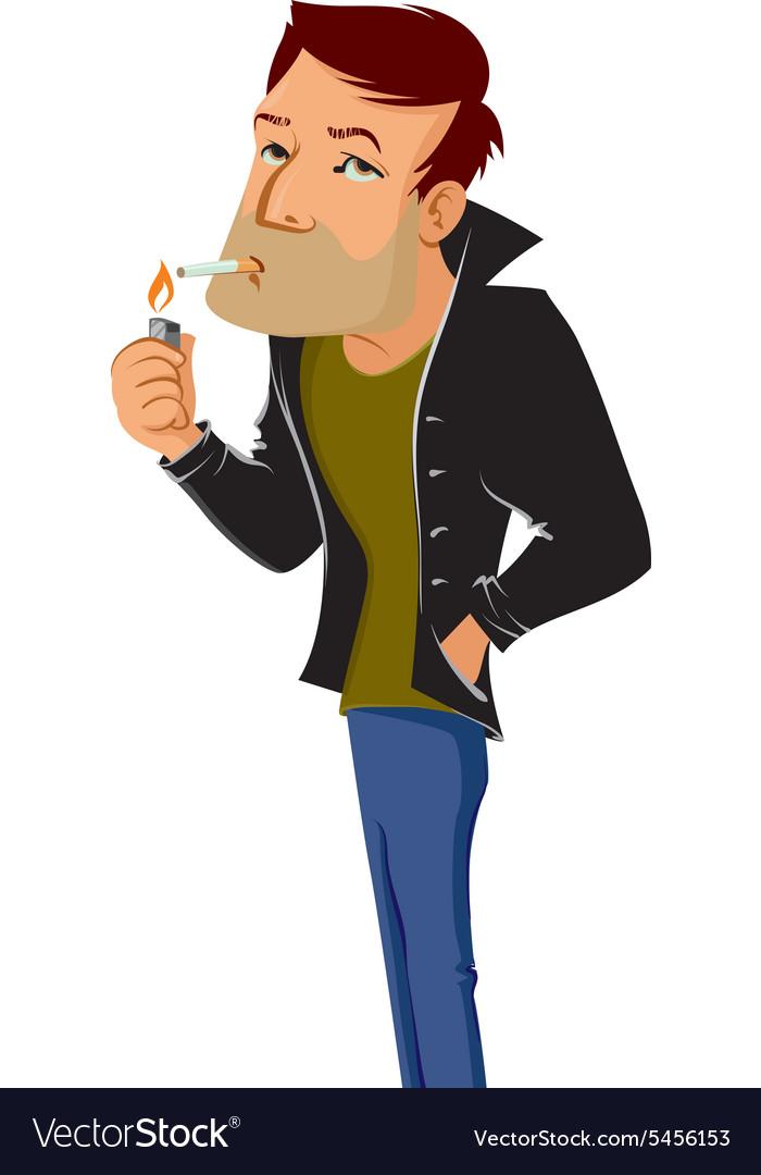 Smoking man vector image
