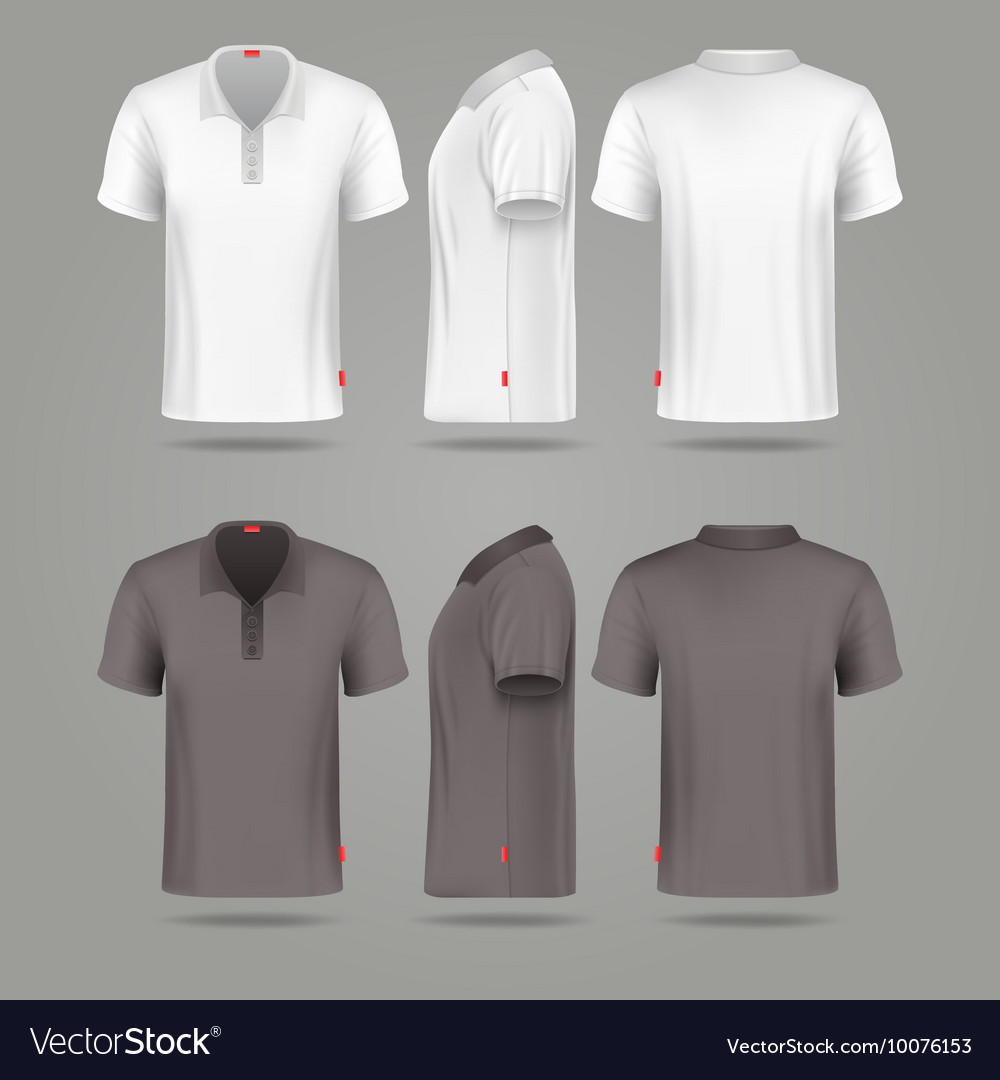 White Black Mens Polo T Shirt Front Back And Side Vector Image