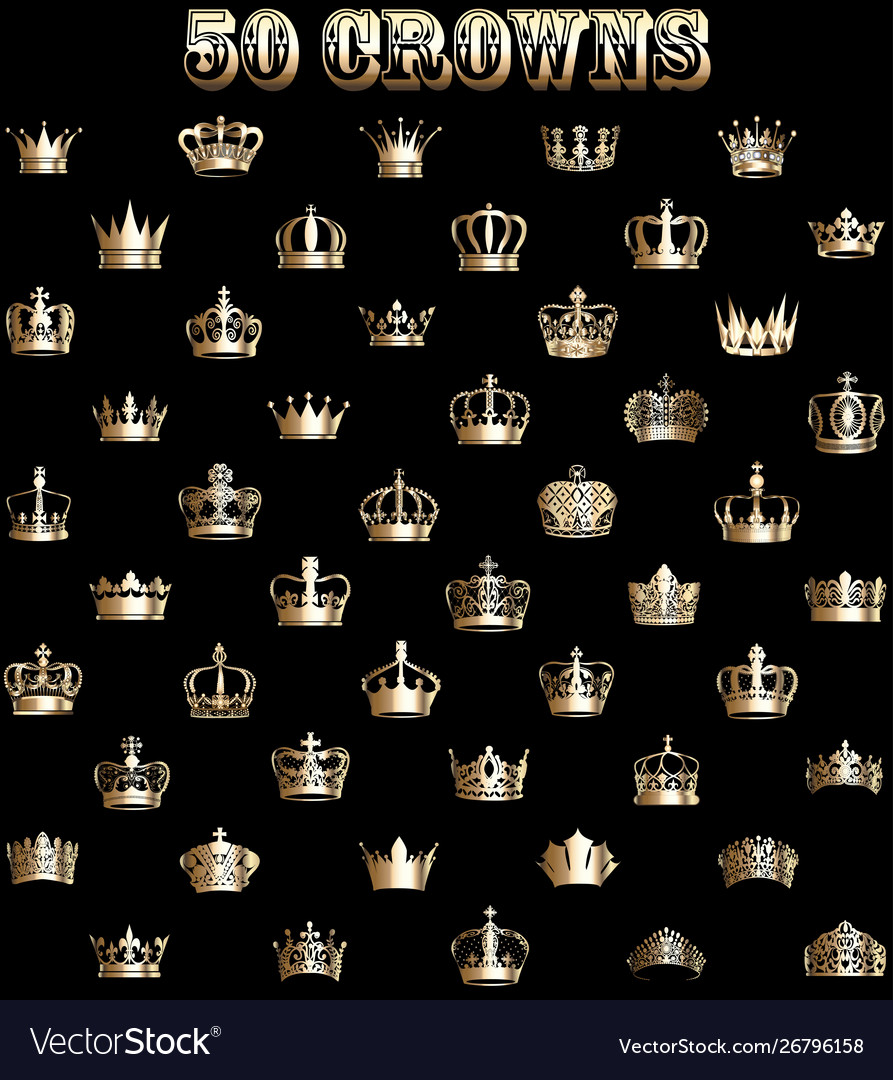 A set gold crowns on a black background