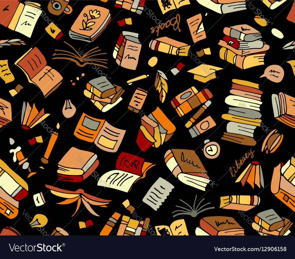 Books collection seamless pattern for your design