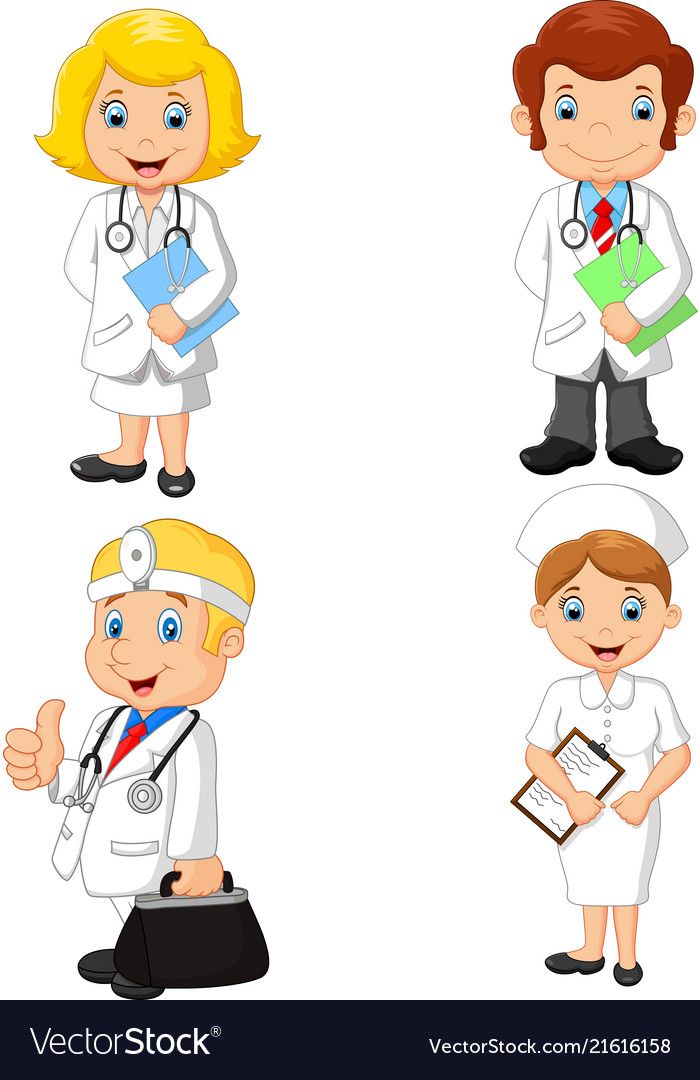 Cartoon doctors and nurses collection set