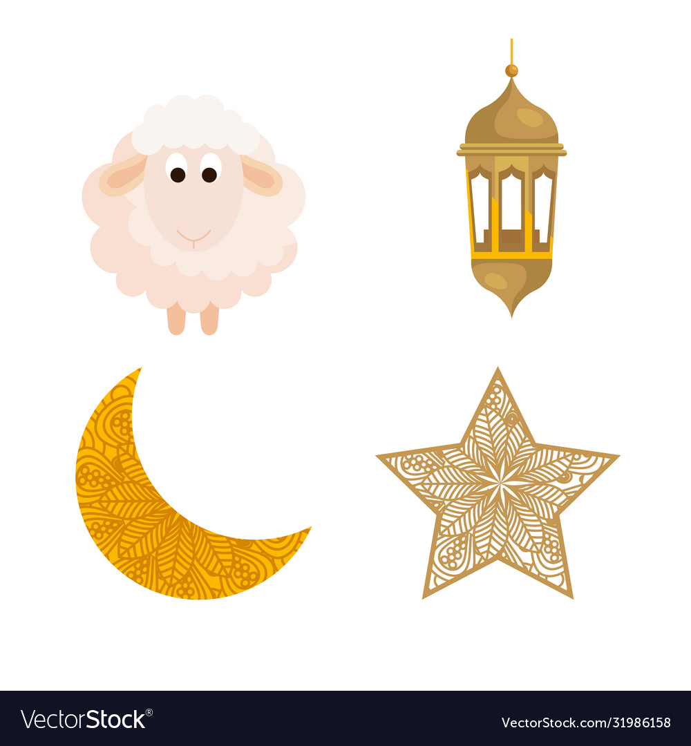 Collection eid al adha mubarak icons decoration