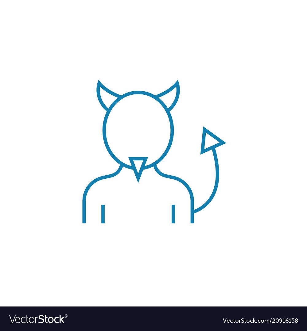 Devil costume linear icon concept devil costume