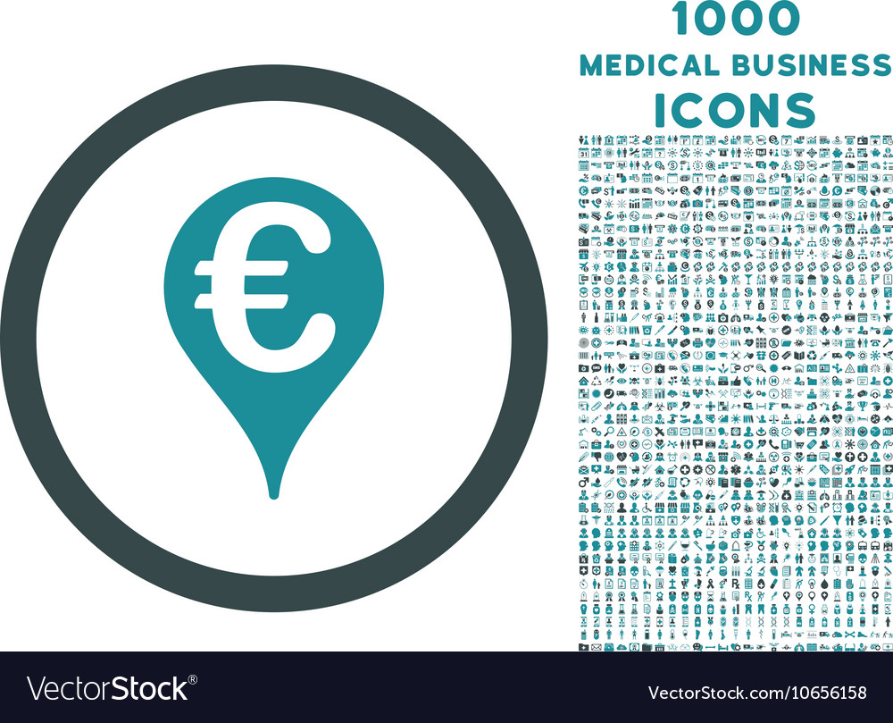 Euro Bank Map Pointer Rounded Icon with 1000 Bonus