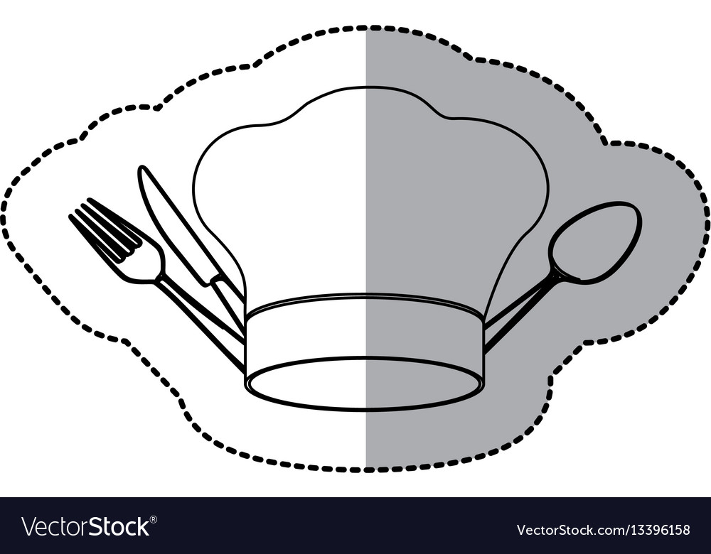 Figure hat with cutlery icon