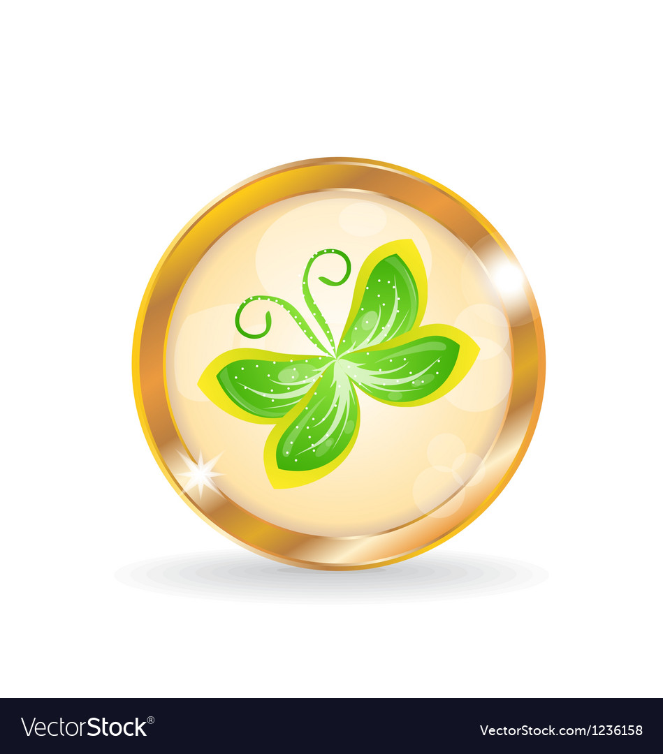 Golden circle label button with butterfly